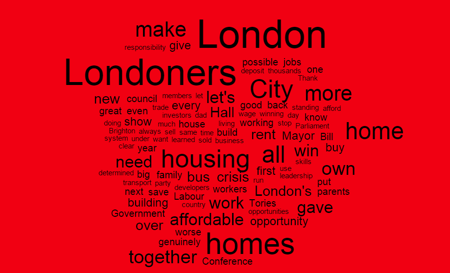 Words most used by Sadiq Khan at his Labour Conference 2015 speech